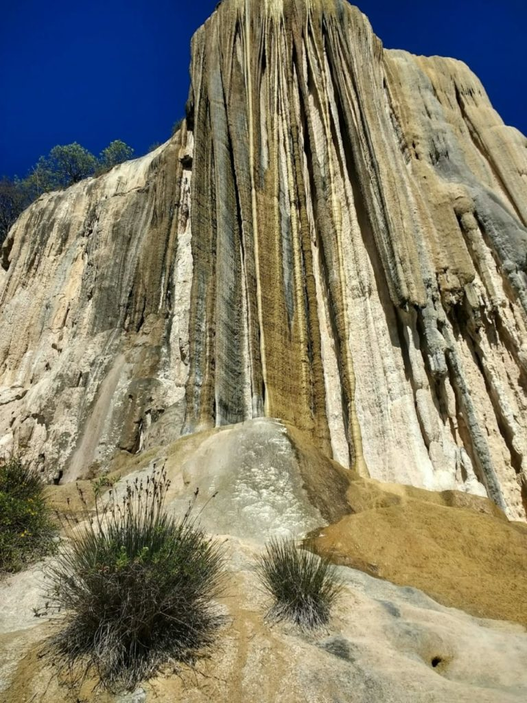 CaCO3 calcium carbonate limestone formation and Hierve el Agua view from from below
