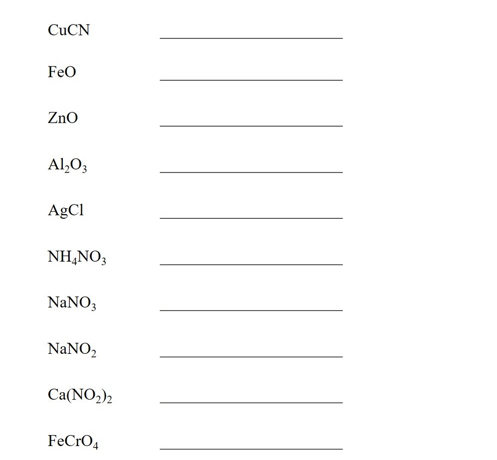 Polyatomic Ions List and Worksheet Exercise 4 CuCN NH4NO3 NaNO3 NaNO2 Ca(NO2)2 FeCrO4
